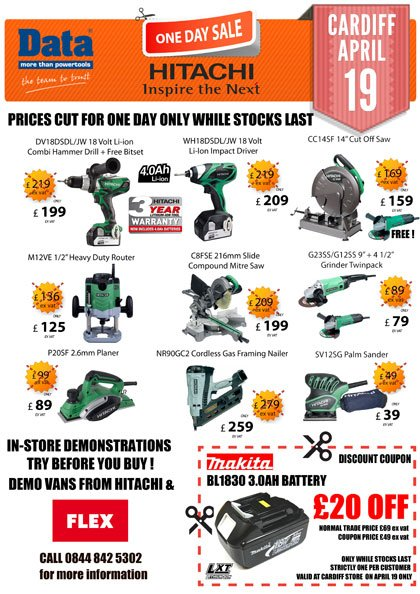 hitachi one day tool sale