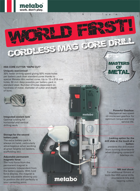 Metabo Cordless Magnetic Core Drill
