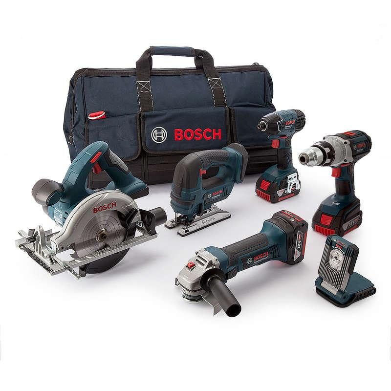 Bosch 6 Piece Cordless Tool Kit with 3x5.0ah Batteries