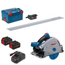 BOSCH GKT18V-52GC 18v Brushless Plunge Saw with 2x8ah Batteries, Lboxx +Rail