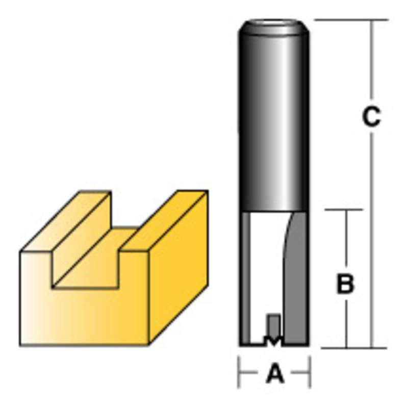 "CARBITOOL STRAIGHT ROUTER BIT 18MM 1/2"" SHANK"