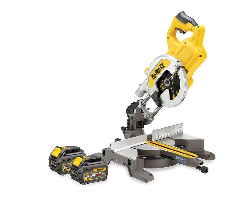 DeWALT DCS777T2-GB 54V XR FLEX VOLT 216mm Mitre Saw 2x 6ah Batts