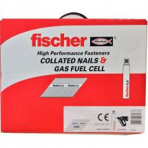 Fischer 51mm Collated Ring Shank Nails & 3 Gas Fuel Cells Galv (Box of 3300)