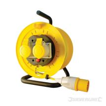 Silverline Cable Reel 110V Freestanding 16A 25m 2 Socket