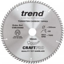 Trend CSB/25080 TCT saw blade 250mm x 80 teeth x 30mm