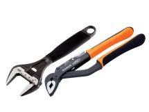 Bahco 218mm Adjustable Wrench & 250mm Waterpump Plier Twin Set