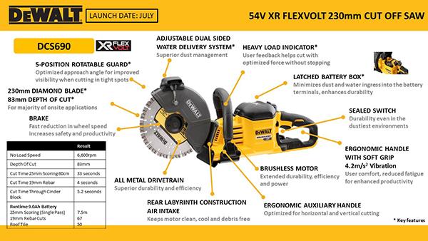 Dewalt Dcs690x2 Gb 54v Flexvolt 230mm Cut Off Saw 2x9ah