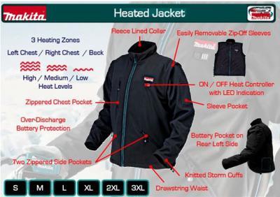 Data - more than power tools ! - Makita DCJ200Z Cordless Heated Jacket ...